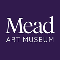 """Mead Art Museum"" in white font with a purple background,"